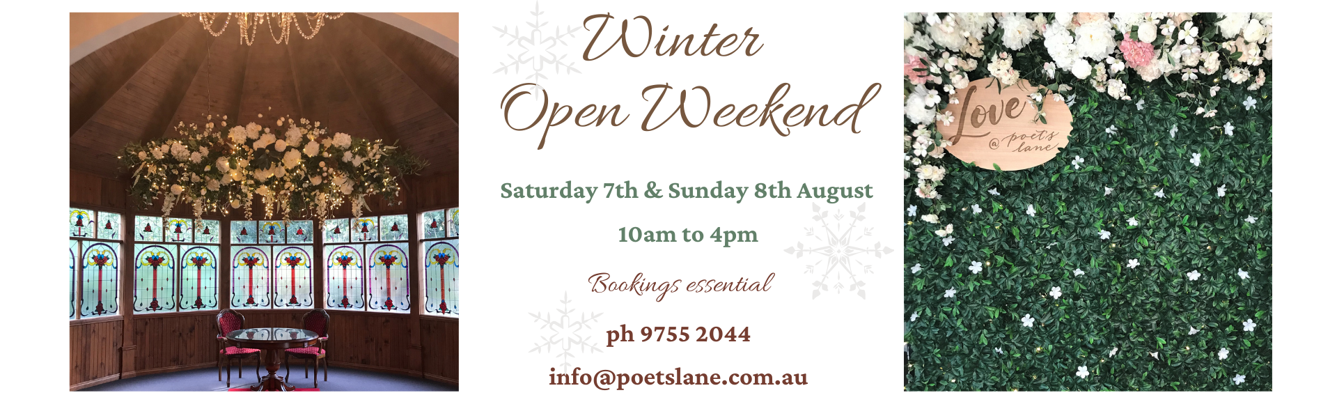 Open weekend 7th & 8th August banner